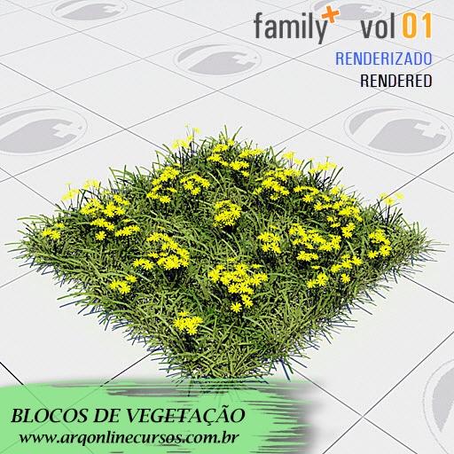 famílias de vegetação para revit grama amarela