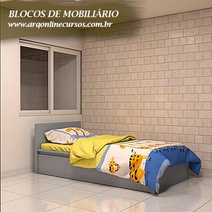 famílias para revit de mobiliário cama criança