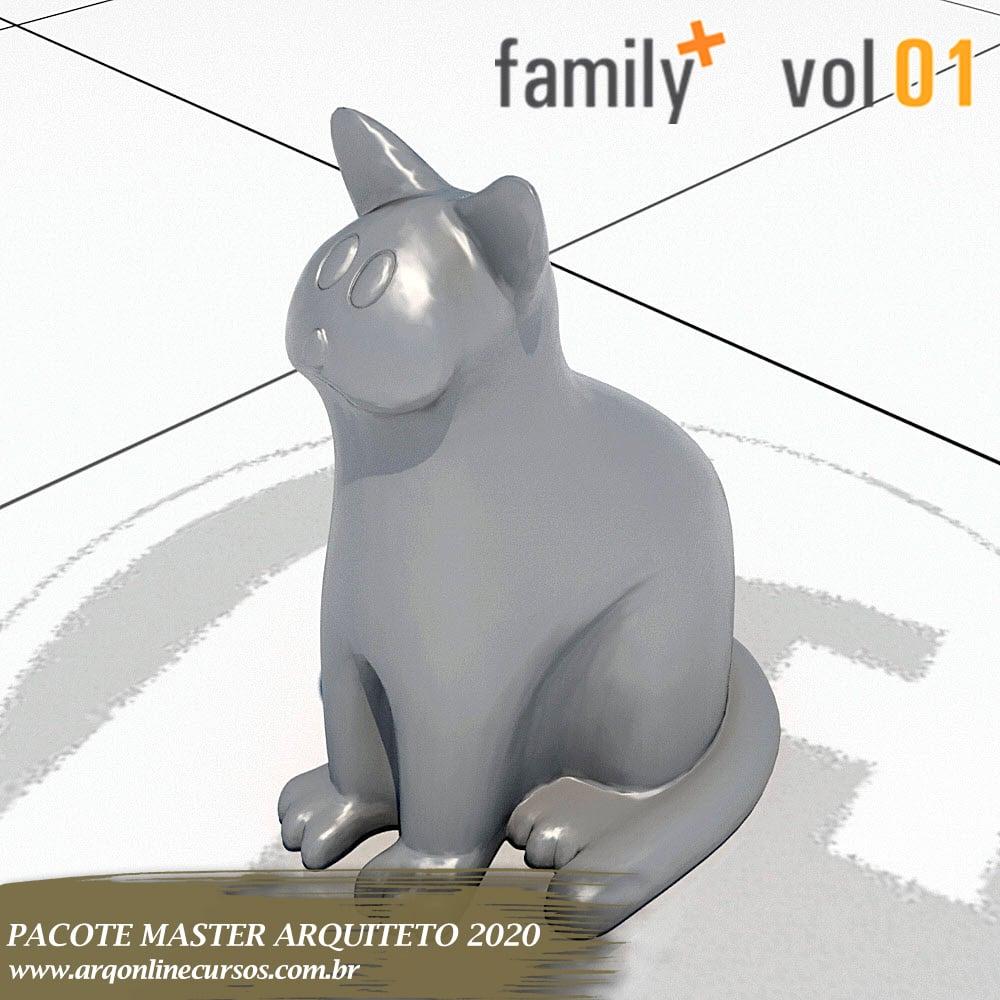 gato objeto decorativo cinza revit