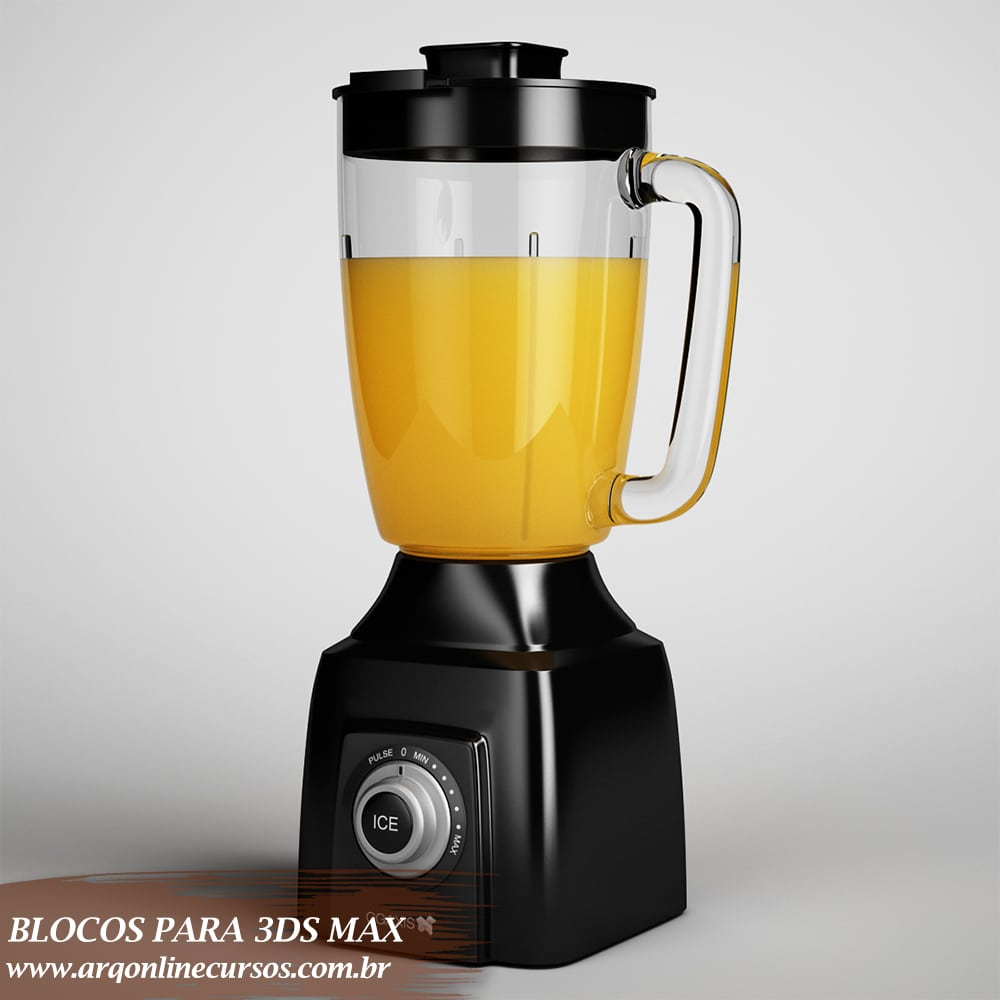 bloco liquidificador preto para 3ds max
