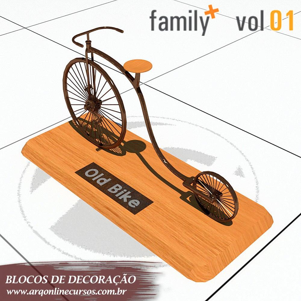 bicicleta de madeira renderizada revit