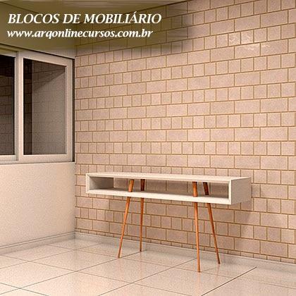 pacote de blocos de mobiliário para revit aparador renderizado