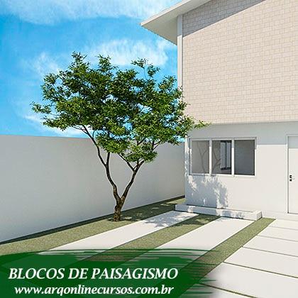 pacote de blocos de paisagismo árvore 2 lados
