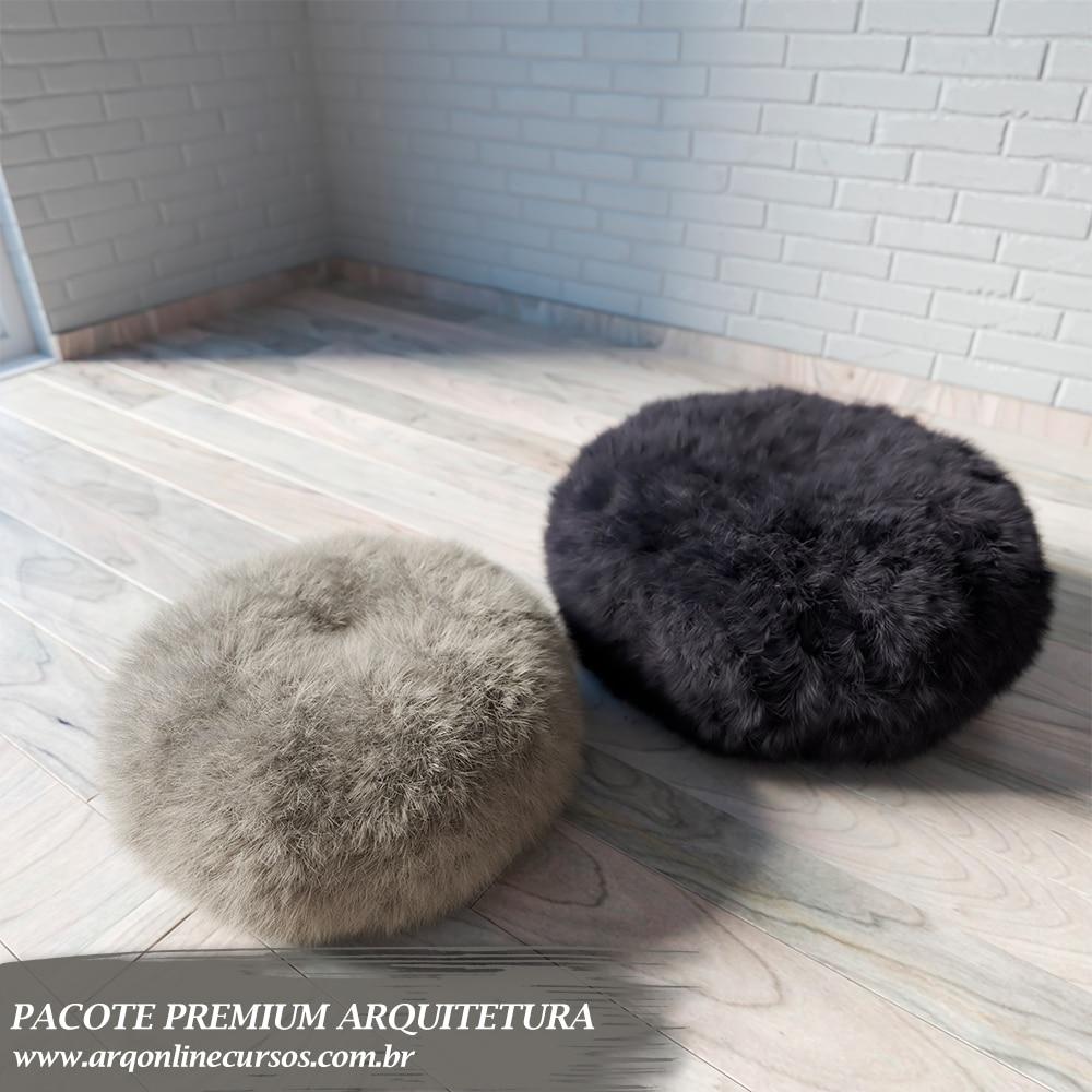 pacote formação de arquitetura puff branco e preto