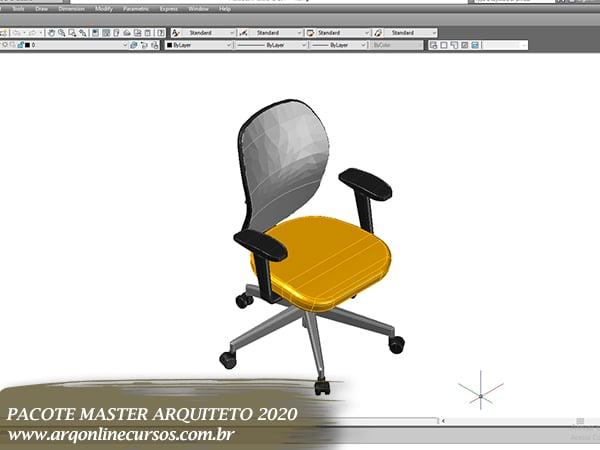 cadeira amarela para autocad