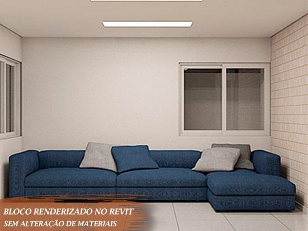 sofá em formato de L cor azul para Revit