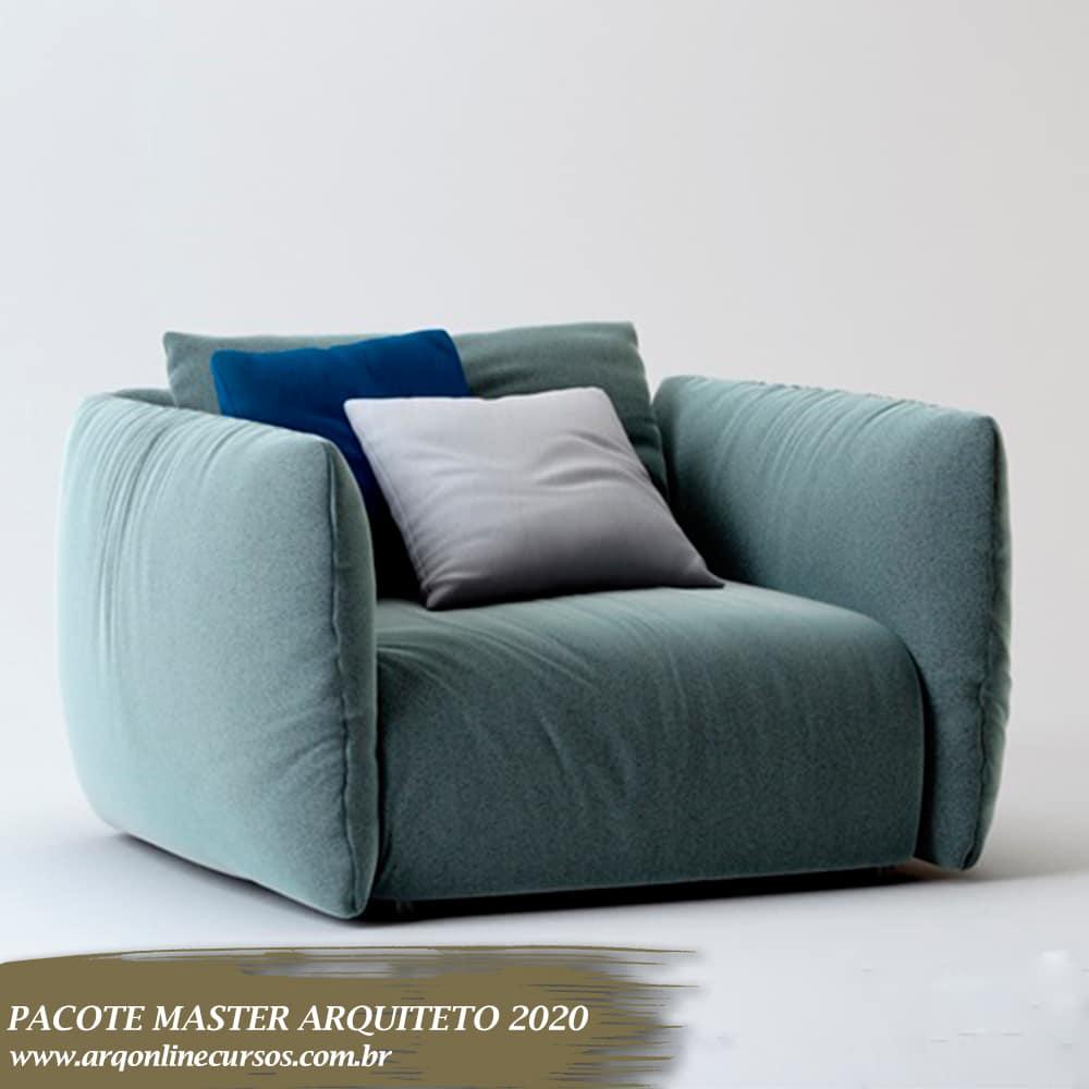sofá 1 lugar azul sketchup