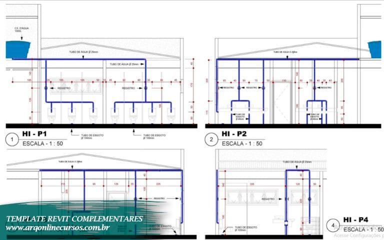 template de hidráulica para revit esquema com caixa dágua