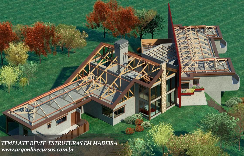 template revit estruturas em madeira cena renderizada