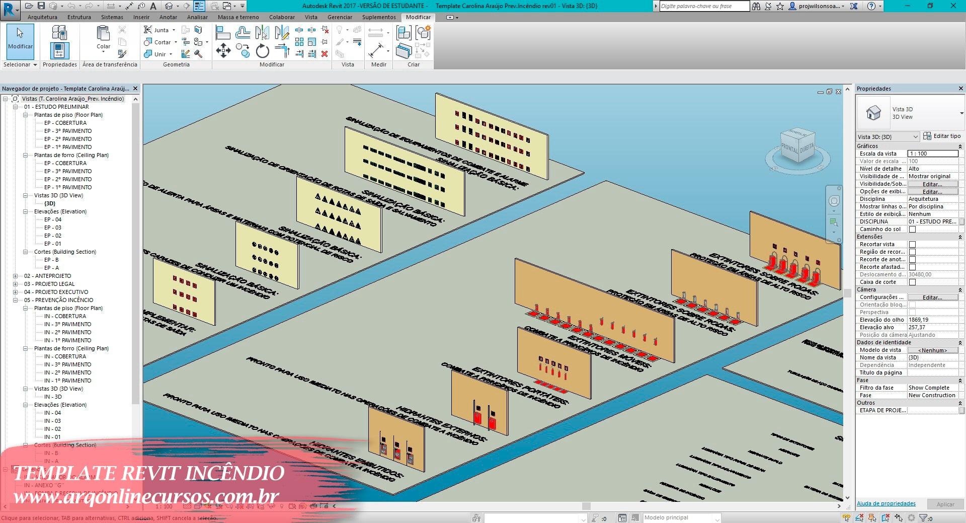 template revit prevenção e combate a incêndio estrutura organizacional