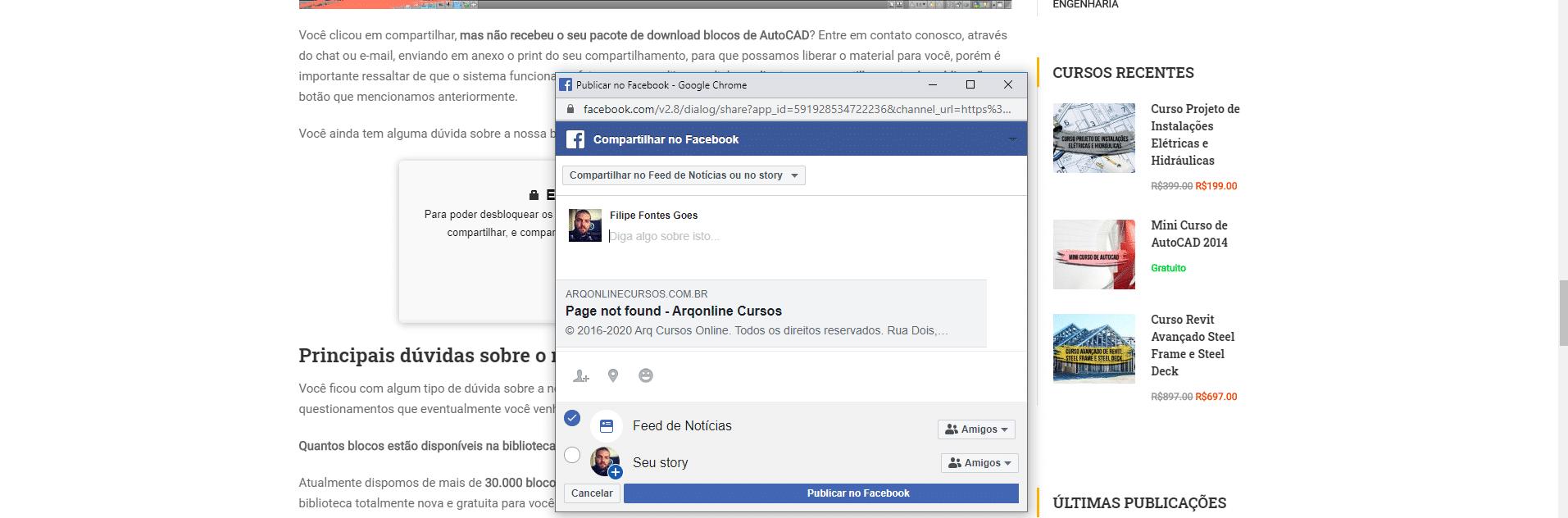 clicar na opção de compartilhar facebook