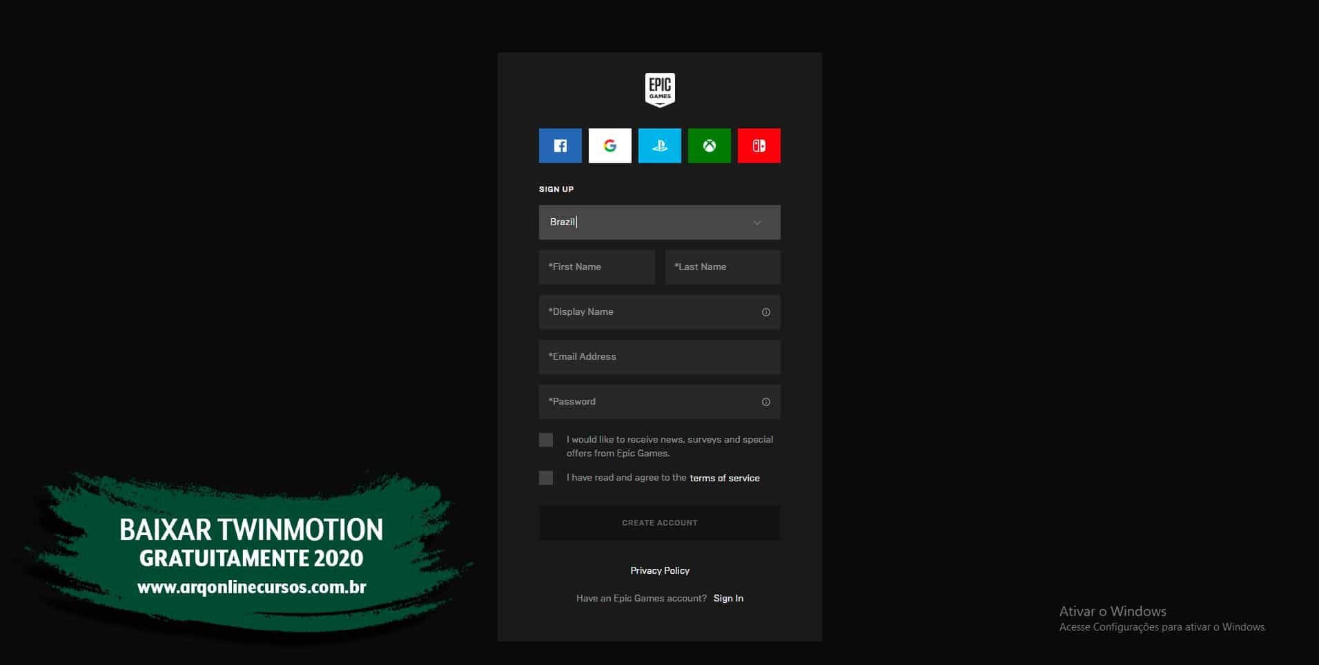 twinmotion 2020 criação conta