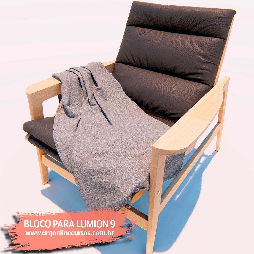 cadeira com lençol render lumion