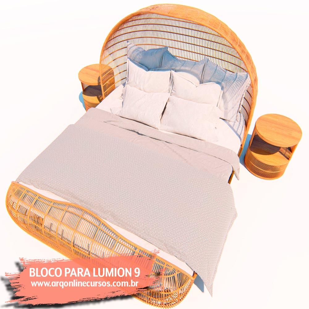 bloco cama casal render lumion