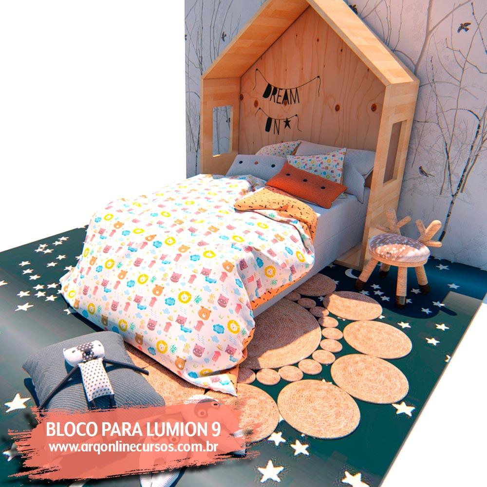 blocos para lumion 9 render quarto criança