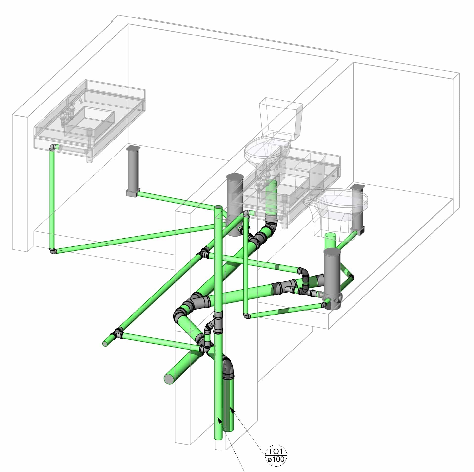 isometria instalações hidrossanitárias revit 2020